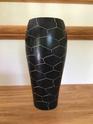 heavy B&W vase  hexagonal incised pattern - soapstone Img_7916