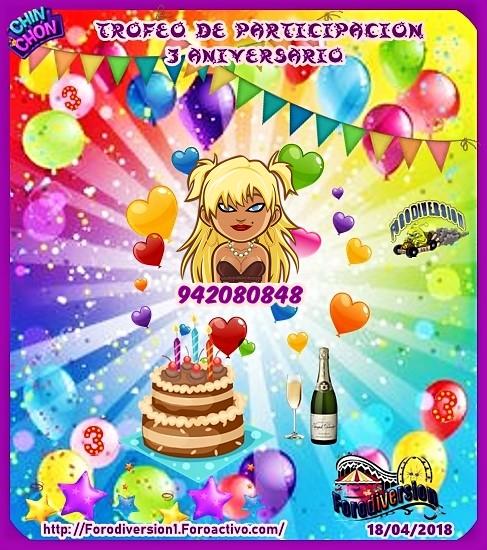 TROFEOS DE PARTICIPACION DE 3º ANIVERSARIO DE FORODIVERSION  94208011