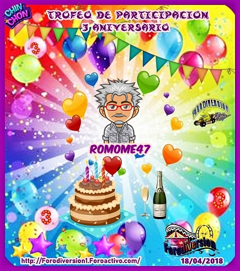 TROFEOS DE PARTICIPACION DE 3º ANIVERSARIO DE FORODIVERSION  Romome10