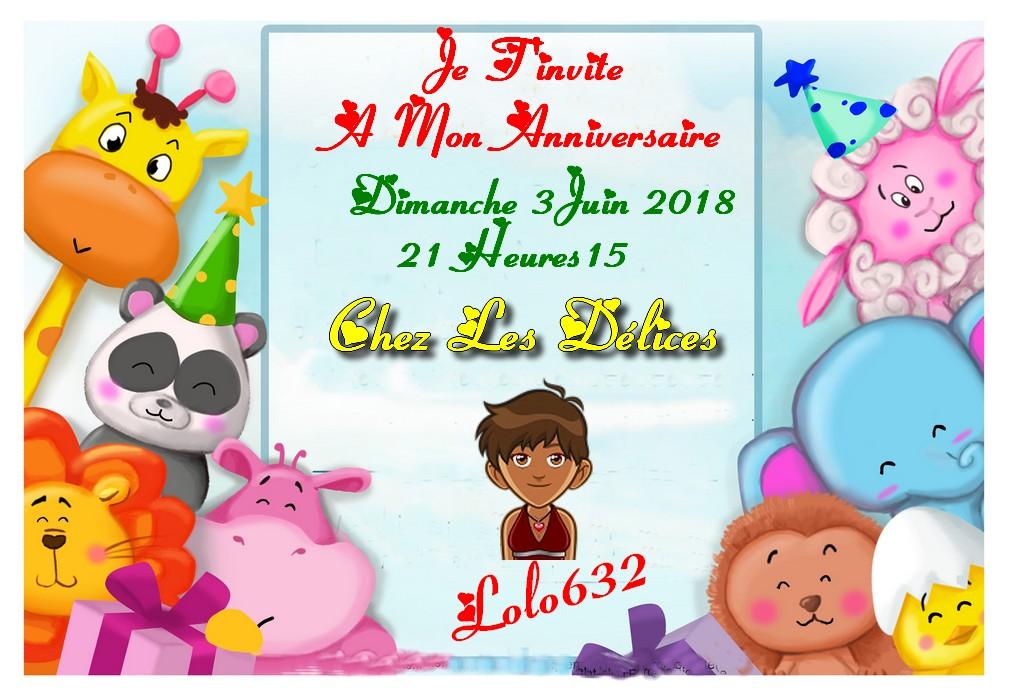 INVITATION A ANNIVERSAIRE DE LOLO632 LE 3 JUIN 2018 21H15 Invita10