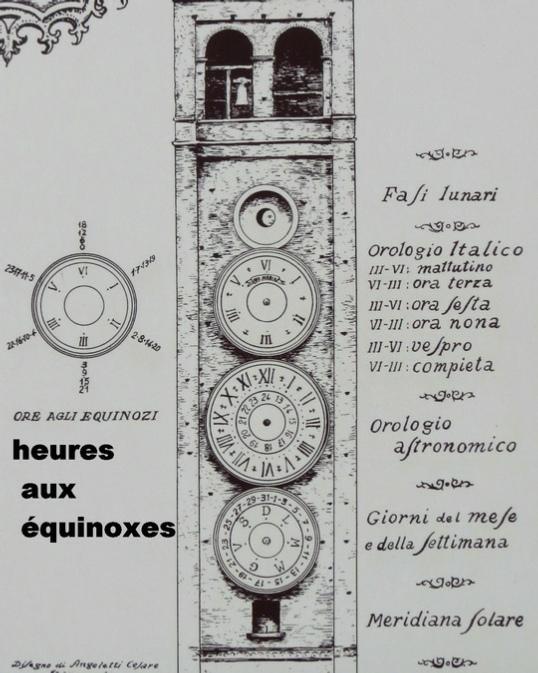 Les cadrans du clocher de l'eglise de Tolentini - Italie As-tol13