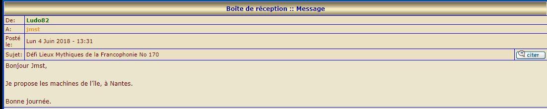 Lieux Mythiques de la Francophonie 139 à 171 (Mai 2016 - Juin 2018) - Page 69 Ludo11