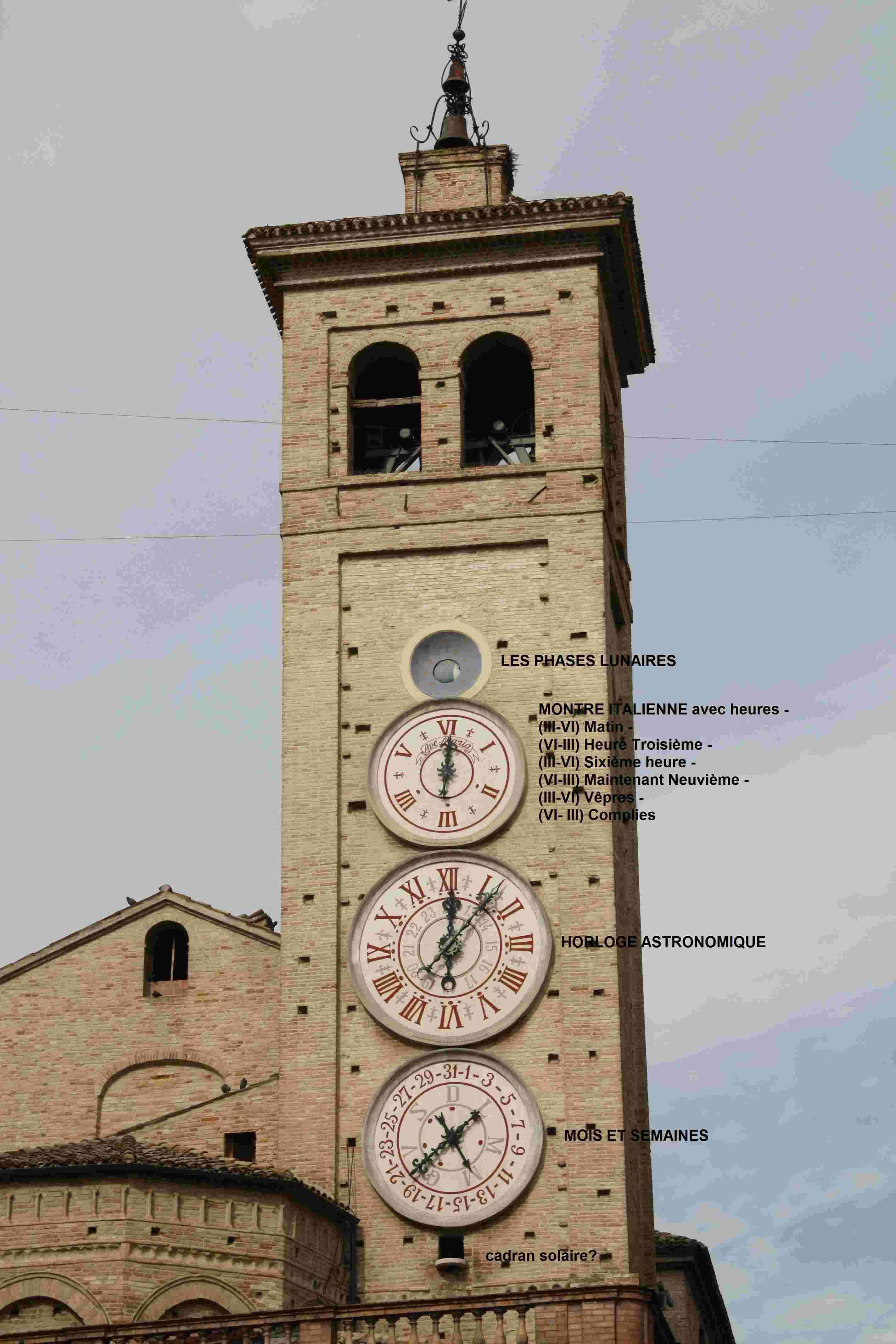 Les cadrans du clocher de l'eglise de Tolentini - Italie Tolent10