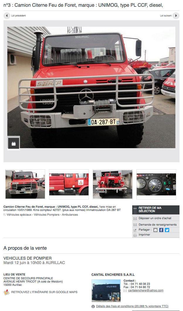Unimog 1300 pompier à vendre sur interenchères du 10/01/1989. Kms compteur 42727 Captur17