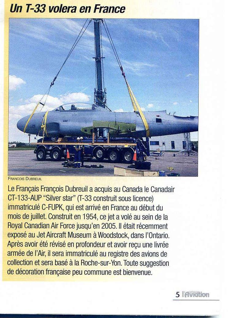 """Un T-33 Canadien arrive en France C-FUPK CT-133-AUP """"Silver star"""" T3310"""