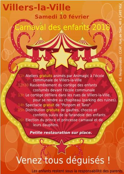 CARNAVAL - PROGRAMME DES FESTIVITES  du carnaval de Villers la ville 2018  Carnav18