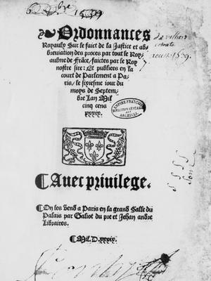 L'Ordonnance de Villers-Cotterêts par François 1er en 1539 Captur12