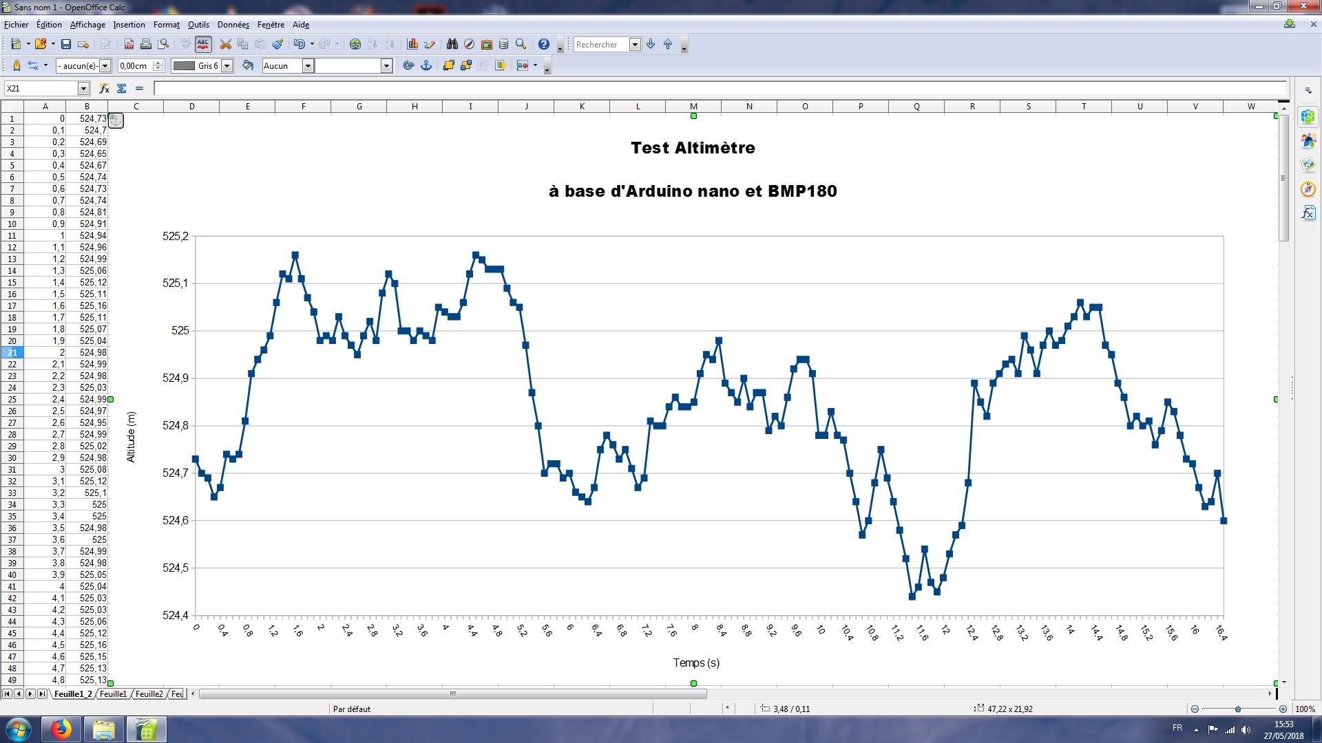 Mon premier altimètre en arduino ! Graphe11