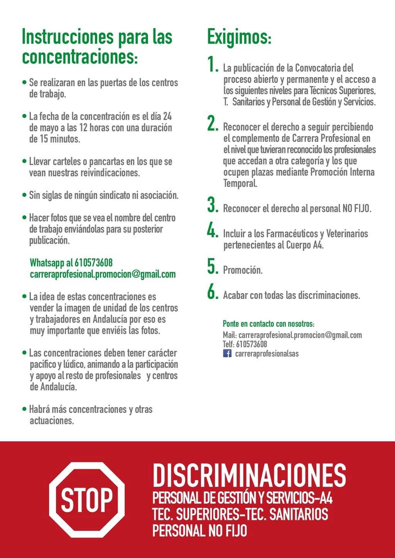 NUEVAS CONCENTRACIONES POR LA CARRERA PROFESIONAL PARA TODOS Diptic11