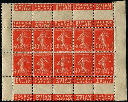 40c semeuse camée rouge   DOUBLES-PUBS. Evian10