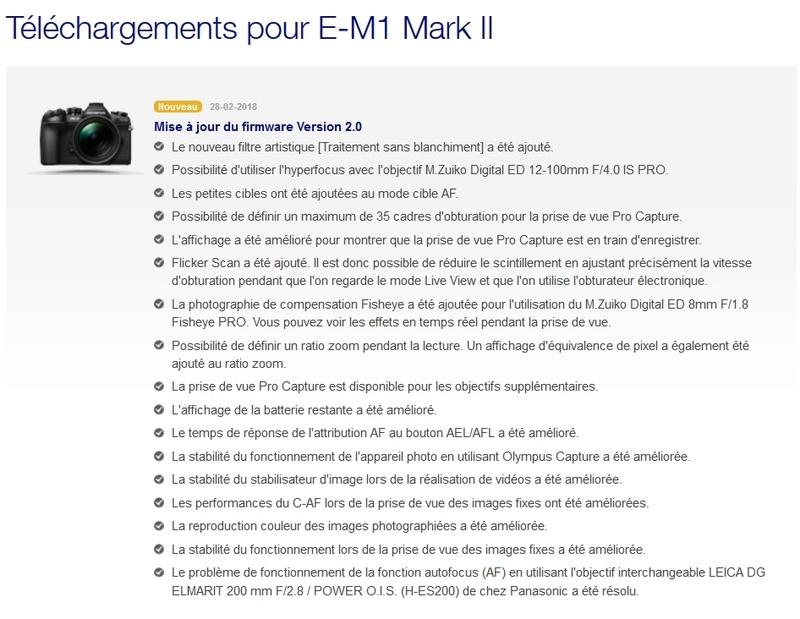 Panasonic Lumix G9 par dpreview -l'Olympus OM-D E-M1 Mark II -D500 Firmwa10