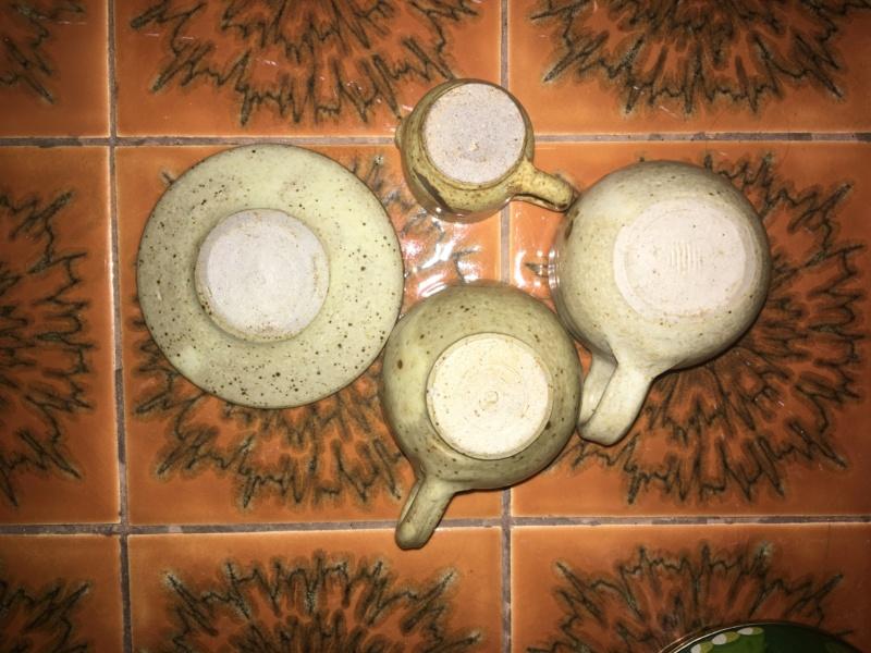 Minature generic studio pottery 1970 cup and saucer 9e5e7810
