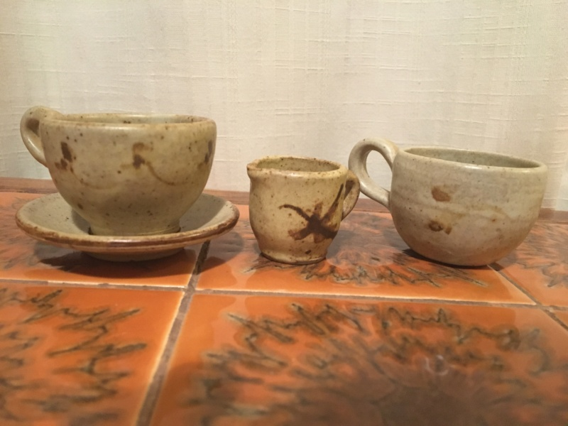 Minature generic studio pottery 1970 cup and saucer Afd42910