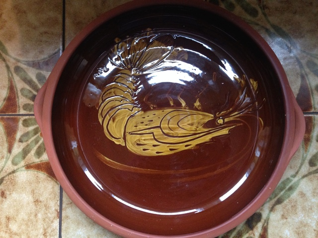 Slipware prawn on terracotta bowl Img_0330