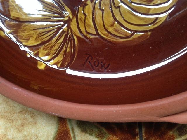 Slipware prawn on terracotta bowl Img_0331