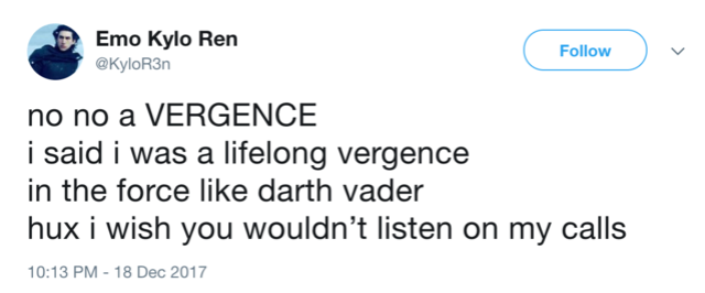 "Horny Space Virgins With Issues (aka The ""Yes Rey and Kylo Are Totes Virgins"" thread) - Page 3 Vergen10"