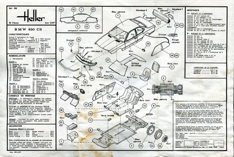 BMW 630 CS 1/43ème Réf 166 Notice Heller12