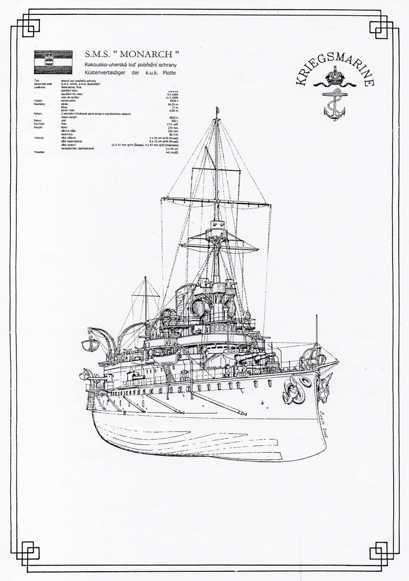 SMS Monarch cuirassé austro-hongrois au 1/65e sur plan Img37712