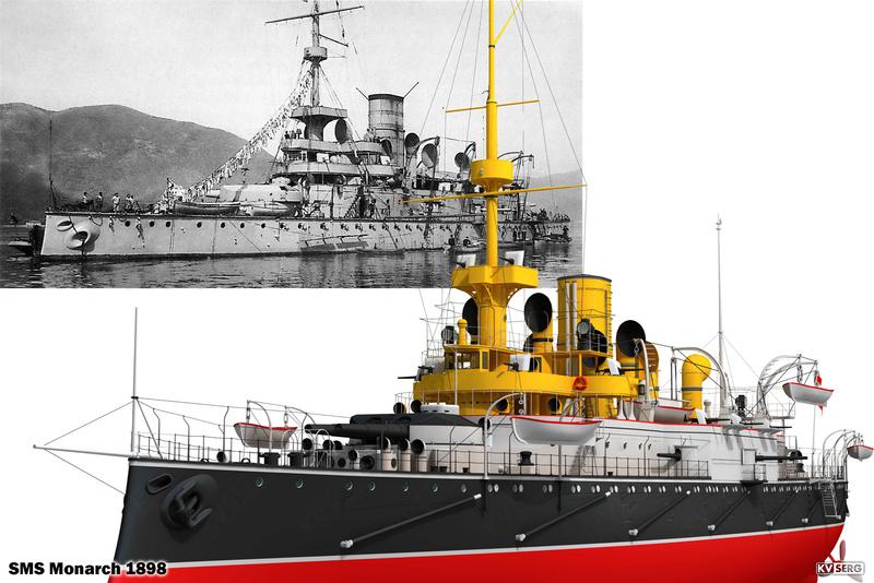 SMS Monarch cuirassé austro-hongrois au 1/65e sur plan Kvserg11