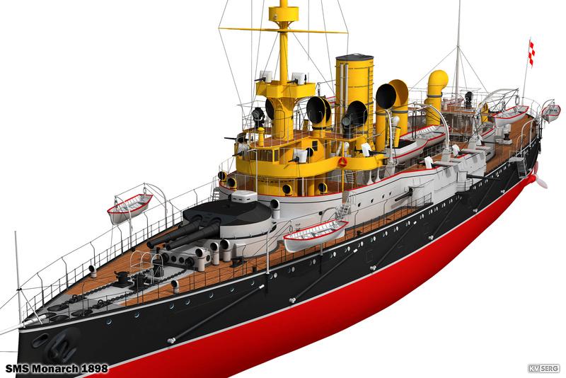 SMS Monarch cuirassé austro-hongrois au 1/65e sur plan Kvserg13