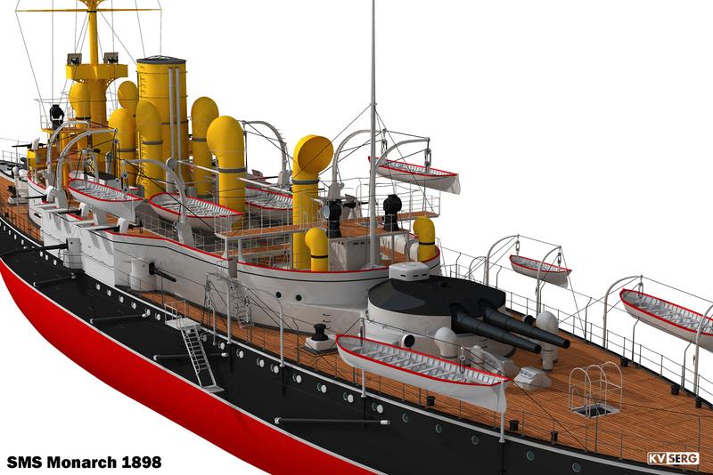 SMS Monarch cuirassé austro-hongrois au 1/65e sur plan Kvserg14