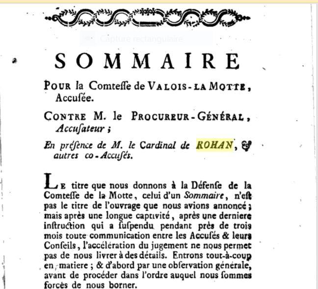 Sommaire pour la comtesse de Valois-La Motte 313