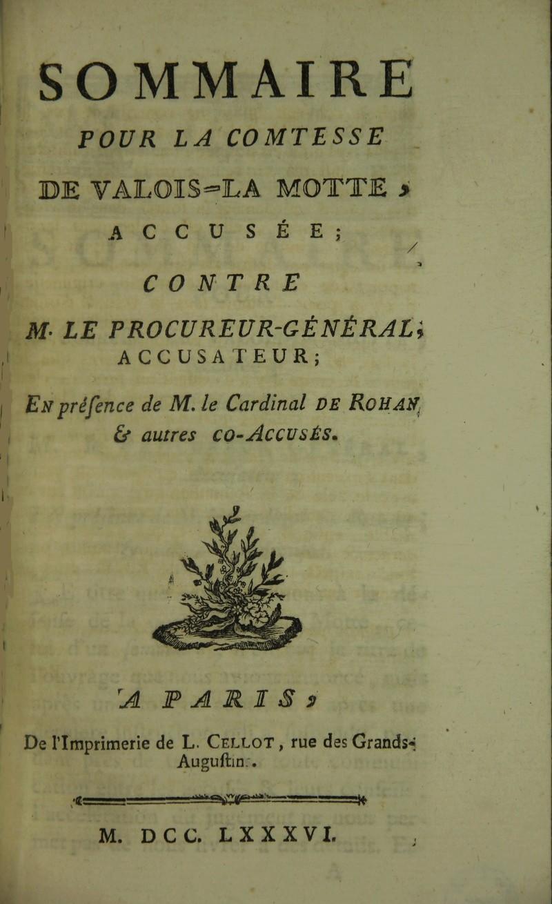 Sommaire pour la comtesse de Valois-La Motte 3165