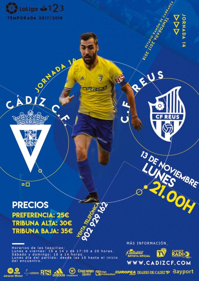 [J14] Cádiz C.F. - C.F. Reus D. - 13/11/2017 21:00 h. Cartel10