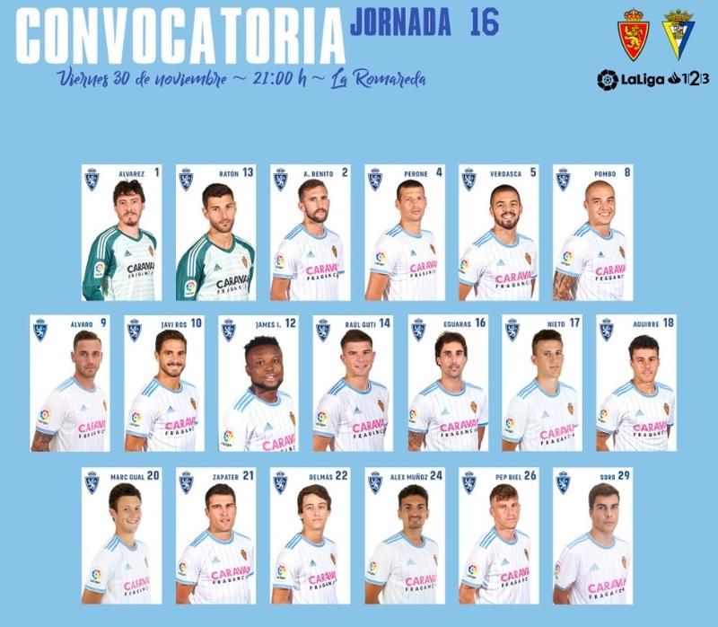 [J16] R. Zaragoza - Cádiz C.F. - Viernes 30/11/2018 21:00 h. Convoc10