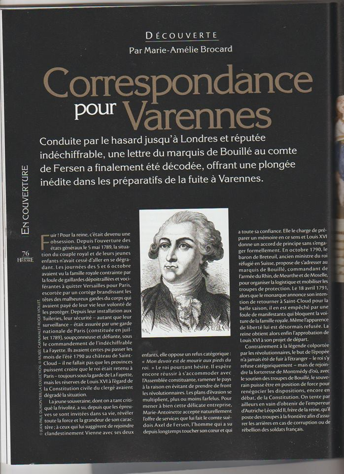 Voyage de Montmédy-Varennes, lettre inédite et chiffrée de Bouillé à Fersen Zzz910