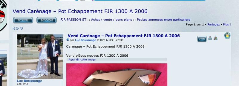 Vend Carénage – Pot Echappement  FJR 1300 A  2006 0110
