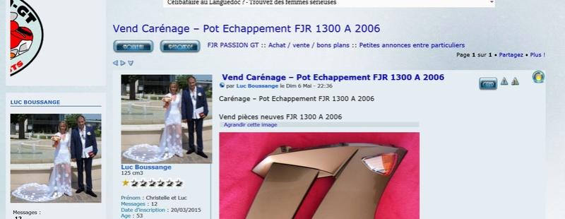 Vend Carénage – Pot Echappement  FJR 1300 A  2006 0111