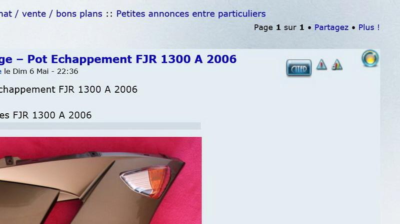 Vend Carénage – Pot Echappement  FJR 1300 A  2006 0112