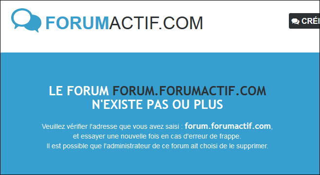 Suppression et réactivation d'un forum Existe12