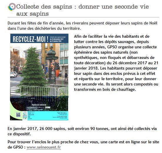 Collecte de sapins par Grand Paris Seine Ouest (GPSO) Clipb332