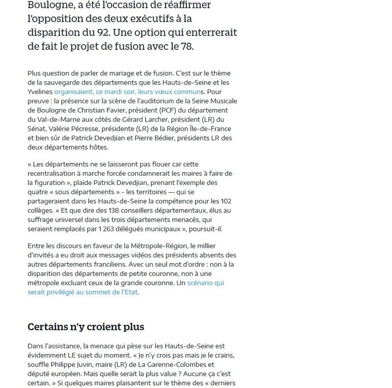 Fusion des départements des Hauts de Seine et des Yvelines Clipb493