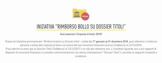 CHEBANCA! rimborsa il BOLLO SU DOSSIER TITOLI [promozione scaduta il 31/12/2018] Cattur10
