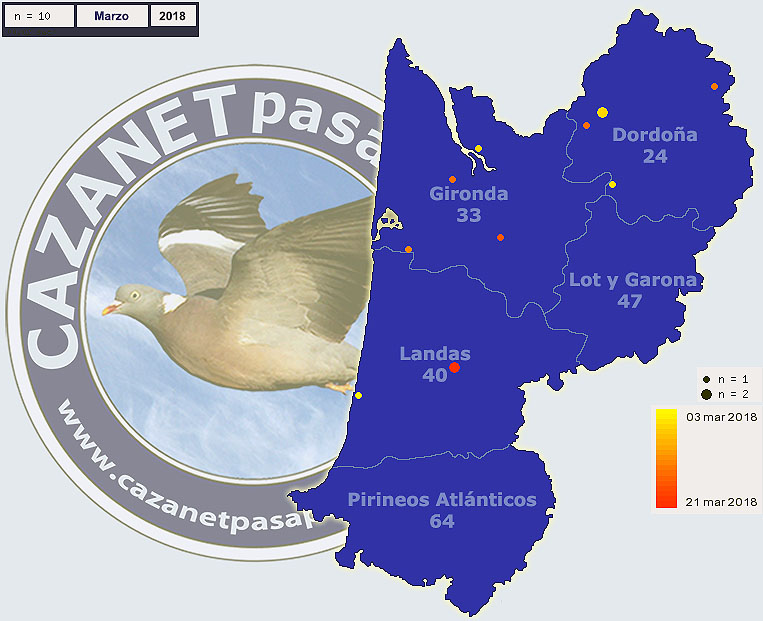 Migración Becadas en Aquitania durante Enero, Febrero y Marzo Grafic55