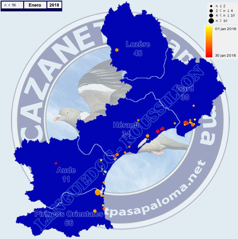 Avistamientos Agachadiza Común en Languedoc-Roussignol - Enero, Febrero y Marzo Mapagr11