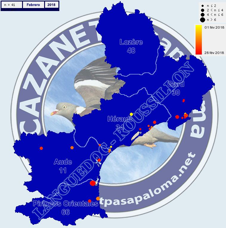 Avistamientos Agachadiza Común en Languedoc-Roussignol - Enero, Febrero y Marzo Mapagr14