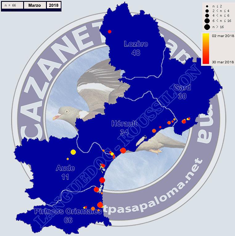 Avistamientos Agachadiza Común en Languedoc-Roussignol - Enero, Febrero y Marzo Mapagr17