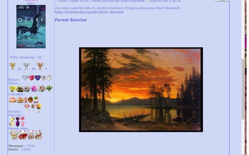 Puzzle #120 / Forest Sunrise par Albert Bierstadt Mimo61