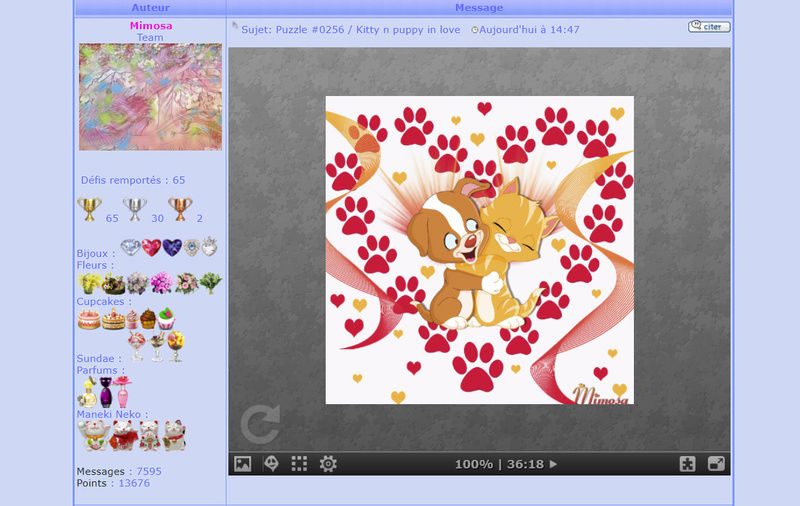 Puzzle #0256 / Kitty n puppy in love Puzzl243