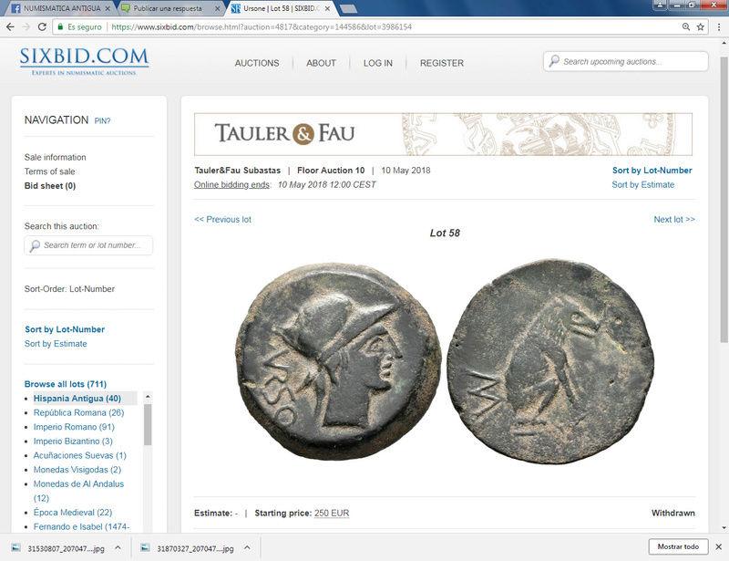 Subasta Tauler & Fau 10/5/2018. Sestercio Nerón - Puerto de Ostia y otras monedas que son la Hostia Ursone10