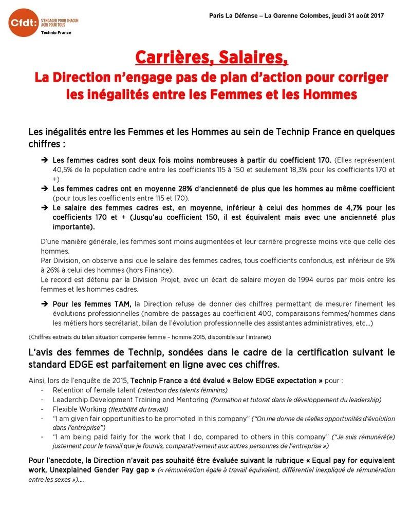 (2017-08-31) - CARRIERES, SALAIRES, LA DIRECTION N'ENGAGE PAS DE PLAN D'ACTION POUR CORRIGER LES INEGALITES ENTRE LES FEMMES ET LES HOMMES Tract_11