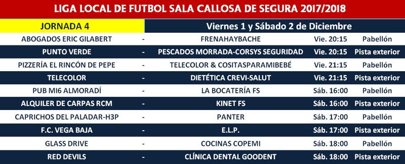 Horario jornada 4 - Liga regular 17/18 Horari14