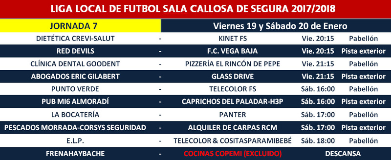 Horario Jornada 7 - Liga Regular 17/18 Horari17