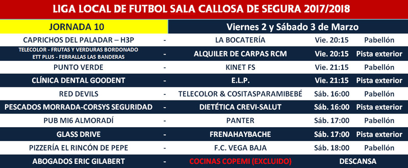 Horario Jornada 10 - Liga Regular 17/18 Horari20