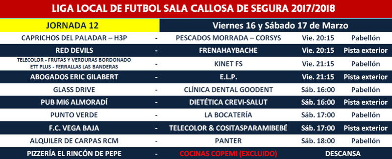 Horario jornada 12 - Liga Regular 17/18 Horari22