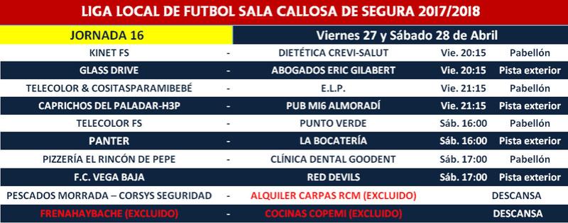 Horario Jornada 16 - Liga Regular 17/18 Horari25